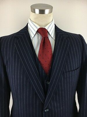 vtg 60s FENTON HALL CLOTHES chalkstripe navy blue wool JACKET + VEST sz 40 41 R