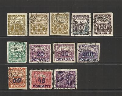 Czechoslovakia ~ 1919-1926 Postage Due (Part Sets) Used
