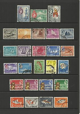Singapore ~ 1955-1962 (Postally Used Part Sets) Qe Ii