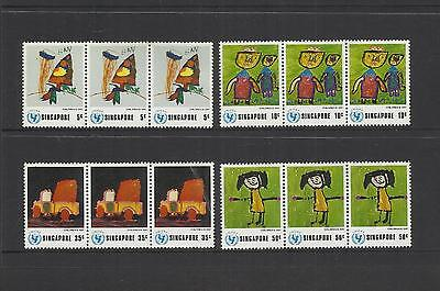 Singapore ~ 1974 Unicef Universal Children's Day (Mint Strips)