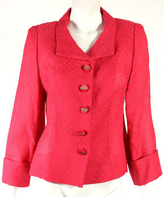 ESCADA Dahlia Pink Textured Woven Cotton Blend Blazer Jacket 40