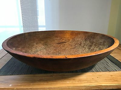 Antique LARGE Hand-Turned Wooden Dough Bowl -17""