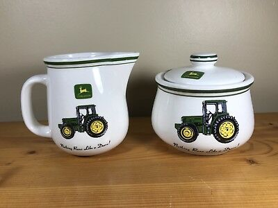 Vintage Gibson John Deere Cream And Sugar Bowl Set Nothing Runs Like a Deere!