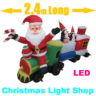 2.4m Long Inflatable Santa Train In/ Outdoor Christmas Air Power w LED Lights