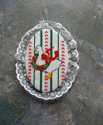 Christmas Ornament - Cross-Stitched Duck With Wreath