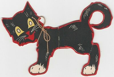 1950s Folding Black Cat Greeting Card - Unfolds to 13 Inches.