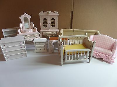 Lot of Vintage White and Pink Mixed Wooden Miniature  Doll House Furnitures