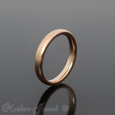 Glossy Mirror Polished Rose Gold Ip Wedding 3Mm Band Classic Traditional Ring