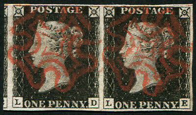 1d Pl.6  'LD-LE' (INTENSE-BLACK) PAIR, SUPERB USED, neatly struck red MX's, fou