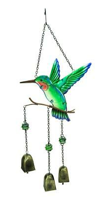 e2e Hummingbird Hanging Painted Glass & Metal Wind Chime Windchime Bell Ornament