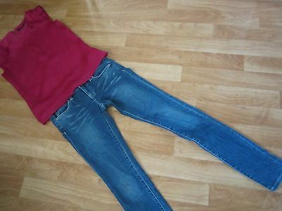 ladies sz 8 calvin klein denim jeans & portmans top