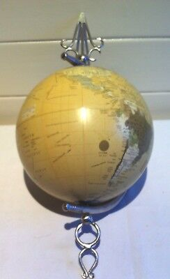 Rotating World Globe with Silver Coloured Ornate Hanging Attachment Decorative