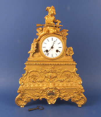 Antique French Charles X or Louis Phillipe Gilt-Bronze Mantle Clock c1824/1850