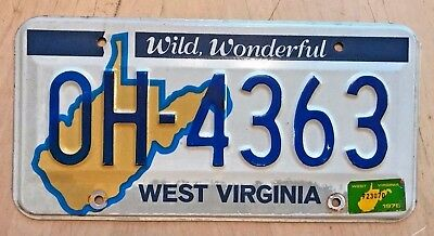 "West Virginia Auto License Plate "" Oh 4363 "" Wv Ohio State Postal Code"