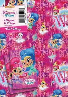 Shimmer & Shine 2 Sheets Of Gift Wrap And 2 Gift Tags New Gift