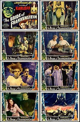 THE BRIDE OF FRANKENSTEIN COMPLETE SET OF 8 INDIVIDUAL 11x14 LC PRINTS 1935