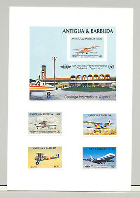 Antigua #855-859 ICAO, UN, Aviation 4v & 1v S/S Imperf Proofs on Card