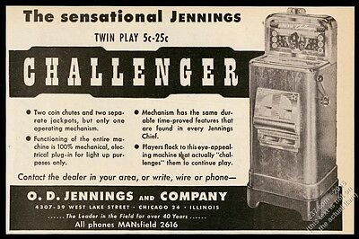 1947 Jennings Challenger slot machine photo vintage trade print ad