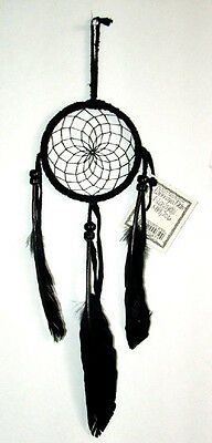 """Authentic Native American Dreamcatcher Navajo 3"""" ALL BLACK #06 Free shipping"""