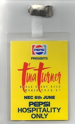 Tina Turner Back Stage Pass 1987 Mint 30 Yrs Old Fully Dated Vintage Original
