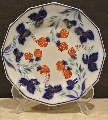 Antique Gaudy Strawberry Byers Miller Flow Blue. Floral Display Plate. Decor