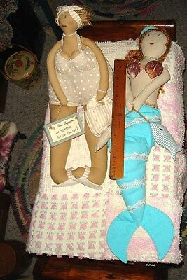 "Vtg ""rare"" Big Bottom Funny Lady & Mermaid Girlfriend Lake Ocean Beach Doll Lot"