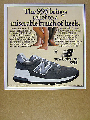 1986 New Balance 995 Running Shoes color photo vintage print Ad
