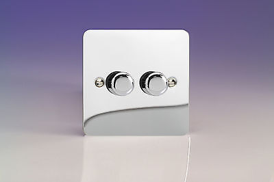 Varilight 2-Gang 1-Way Rotary Dimmer Light Switch 2 x 40-250W Polished Chrome HF