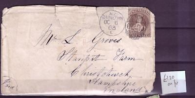 New Zealand 1863 cover with 6d Chalon cat £120 for the stamp alone
