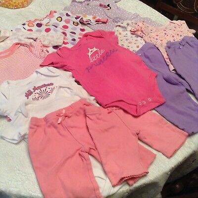 Lot Of Baby Girl Clothes Oneies,pants Footed Sleepers Fladed Glory 0-3 Mos To