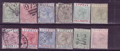 Cyprus QV ranges mh/fu, 4 pi is mng and 30 para is thinned cat £105 as fine