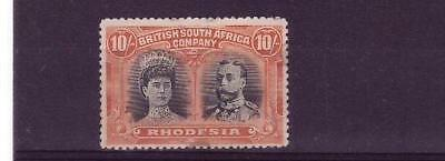 Rhodesia sg 164 10/- orange/black mh 95% og tiny thin at centre bottom cat £650
