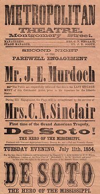 *edwin Booth Rare Original 1854 San Francisco Double Broadside 19 By 12 Inches*