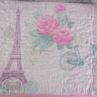 Lil' Pixies Kids FRENCH EIFFEL TOWER 3PC Full Queen Quilt Set pink purple teal