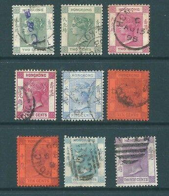 HONG KONG - Queen Victoria USED stamp collection for postmarks/study