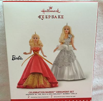 2015 Hallmark Keepsake Ornament Celebration Barbie Ornament Set - 2 Barbie's-Nib