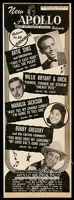 1947 Mahalia Jackson Artie Sims Willie Bryant Bobby Gregory photo trade print ad