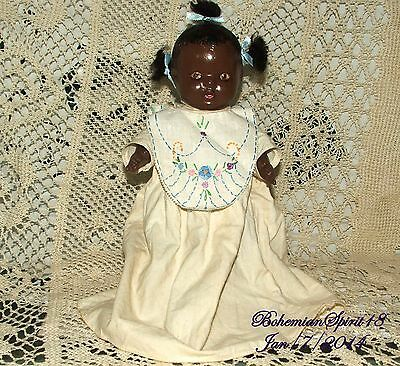 ANTIQUE 30's BLACK AMERICANA COMPOSITION HAND EMBROIDERY BIB DRESS BABY DOLL