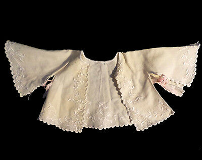 Antique Embroidered Edwardian Early 1990s Baby Jacket Top Bell Kimono Style