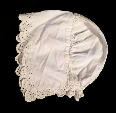 Victorian Early 1900s Eyelet Whitework Baby Bonnet Maybe 6-12m Sz French Cotton