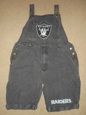 "Vtg 80s 90s Denim Jean OAKLAND RAIDERS OverAlls BLACK NFL Bib Shorts : MD (34""W)"