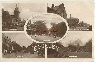 Cheshire Edgeley Stockport Multiview 1920 Real Photo Vintage Postcard 3.10