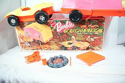 Vintage Barbie Doll Goin' Camping  Accessories & Original Box dune buggy Car