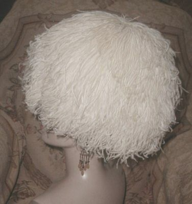 DRAMATIC 1950s BES-BEN Ivory Ostrich Feather Puffball Explosion Toque Hat