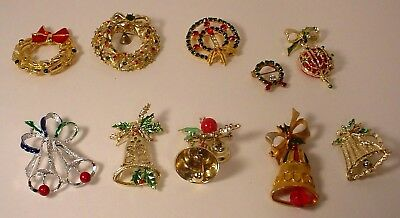 10 Vintage To Retro Christmas Pins BELLS WREATHS