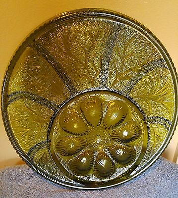 Indiana Glass devil egg & vegetable try platter nice green pebbles leaf