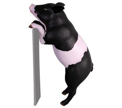 Pig Standing Statue Two Legs Curious Pink Black Farm Animal Theme Display Prop