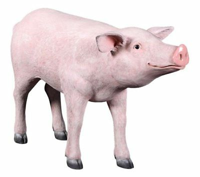 Pig Pink Standing Resin Statue Farm Countryside Theme Prop Decor