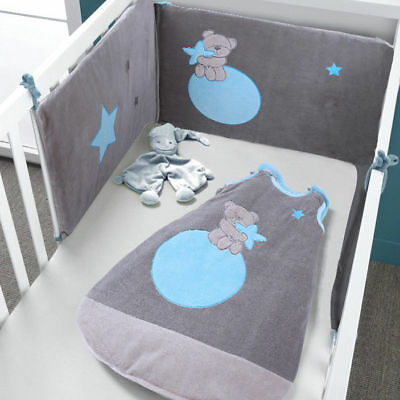 Les Kinousses Baby Crib Cot CotBed Bumper + Sleeping Bag - Blue
