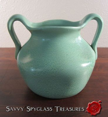 Gorgeous Green Geranium Glaze Pinch Pottery Vase with Handles
